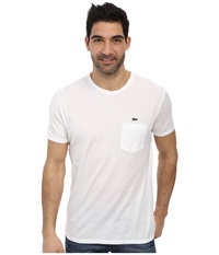 Lacoste Jersey Super Fine Pima Short Sleeve Crew Neck Tee Shirt With Pocket White Men's T Shirt
