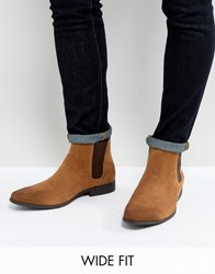 Asos Wide Fit Chelsea Boots In Tan Faux Suede Tan