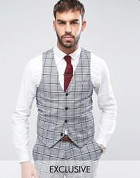 Only And Sons Skinny Vest In Check Gray