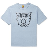 Human Made Logo Print Cotton Jersey T Shirt Blue
