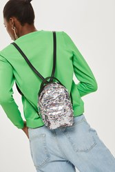 Topshop Funky Sequin Mini Backpack Pink