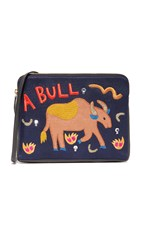 Lizzie Fortunato Bull Safari Clutch Black Pink Multi