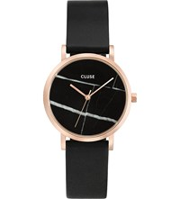 Cluse Cl40104 La Roche Rose Gold Plated Marble Dial Leather Watch