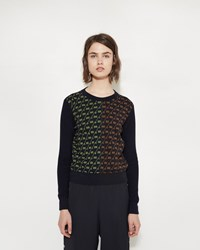 Maison Martin Margiela Clash Jacquard Sweater Navy Slime Black Tobacco