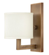 Hinkley Hampton Wall Scone Small Shade 3210Br Brushed Bronze Brown