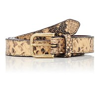 Dries Van Noten Women's Skinny Snake Stamped Leather Belt Tan