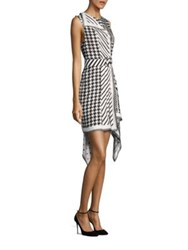 Monse Mixed Houndstooth Dress Black White