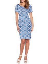 Rafaella Floral Print Cotton Sheath Dress Blue