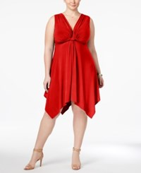 Love Squared Trendy Plus Size Knotted Handkerchief Hem Dress Red
