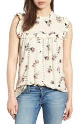 Everleigh Ruffled Floral Top Ivory Floral