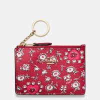 Coach Mini Skinny Id Case In Wild Hearts Print Coated Canvas Light Gold Wild Hearts Red Multi