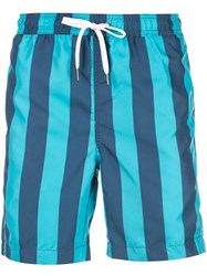 Onia Charles Striped Swim Trunks Blue