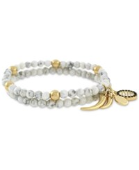 Vince Camuto Gold Tone 2 Pc. Set Beaded Charm Stretch Bracelets White