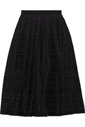 Tibi Ribbon Appliqued Organza Midi Skirt Black