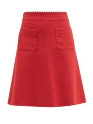 Red Valentino Redvalentino Scalloped Patch Pocket Crepe Mini Skirt