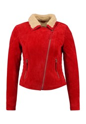 Freaky Nation Teddy Star Leather Jacket Red Birch