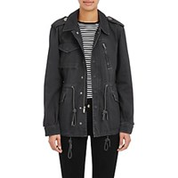 Barneys New York Cotton Twill Anorak Charcoal