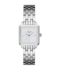 Kate Spade Square Crystal Accented Stainless Steel Watch Ksw1114 Silver