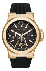 Michael Michael Kors Men's Michael Kors 'Dylan' Chronograph Silicone Strap Watch 48Mm Black Gold Black
