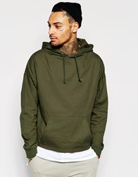 Asos Oversized Cropped Woven Hoodie With Toggle Hem In Khaki