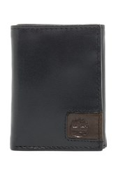 Timberland Cloudy Logo Leather Trifold Wallet Black
