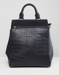 Liquorish Croc Effect Structured Backpack Black Croc