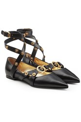 Versace Embellished Leather Ballerinas Black
