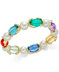 Charter Club Gold Tone Imitation Pearl And Aqua Stone Stretch Bracelet Only At Macy's Multi