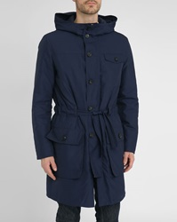 Melindagloss Navy Quilted And Belted Parka With Hood