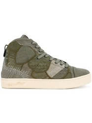 Roar High Top Sneakers Cotton Leather Rubber Green