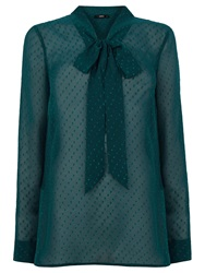 Oasis Textured Pussy Blouse Deep Green
