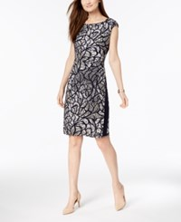Connected Petite Geo Print Faux Wrap Dress Navy