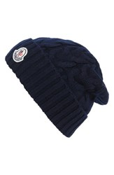 Moncler Men's Berretto Cable Knit Wool Beanie Blue Navy