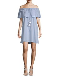 Saks Fifth Avenue Off The Shoulder Cotton Dress Sky Blue