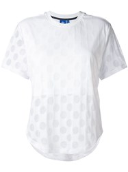 Adidas Burnout Dots T Shirt Women Cotton Polyester Viscose Modal 42 White