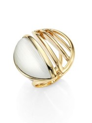 Alexis Bittar Lucite Cocktail Ring Gold White