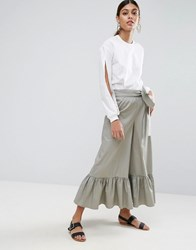 Asos High Waisted Wide Leg Trousers With Frill Hem And Tie Waist Khaki Green