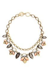 Anne Klein Stone And Chain Statement Necklace Brass Ox Coral Multi
