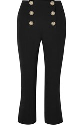 Balmain Cropped Button Embellished Wool Twill Bootcut Pants Black