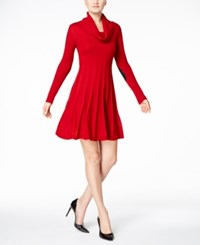 Calvin Klein Cowl Neck Fit And Flare Sweater Dress Red