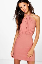 Boohoo Halterneck Keyhole Bodycon Dress Blush