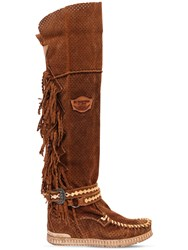 El Vaquero 70Mm Delilah Fringed Suede Wedge Boots Tan