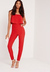 Missguided Bandeau Double Layer Jumpsuit Red Red