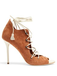 Malone Souliers Savannah Lace Up Suede Sandals Tan White