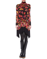 Fuzzi Long Sleeve Turtleneck Rose And Feather Print Dress