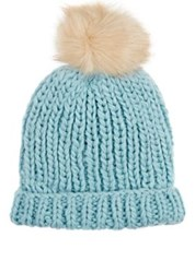 Barneys New York Women's Pom Pom Embellished Hat Light Green