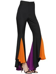 Silvia Astore Flared Stretch Silk Crepe De Chine Pants