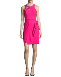 Marchesa Sleeveless Embroidered Ponte Cocktail Dress Pink