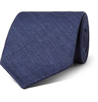 Thom Sweeney 8Cm Herringbone Wool Silk And Linen Blend Tie Navy