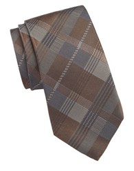 Vince Camuto Milan Plaid Silk Tie Brown
